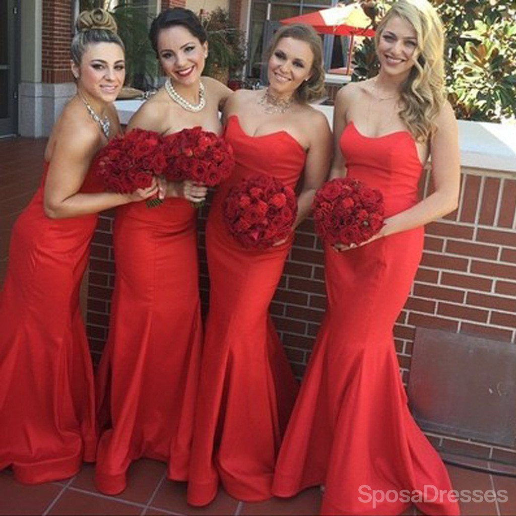 Beautiful stunning red sweet heart sexy mermaid satin long wedding beautiful stunning red sweet heart sexy mermaid satin long wedding guest bridesmaid dresses ombrellifo Images