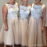 Pretty Iovry Lace Top Tulle Tea Length Affordable Bridesmaid Dresses, WG166