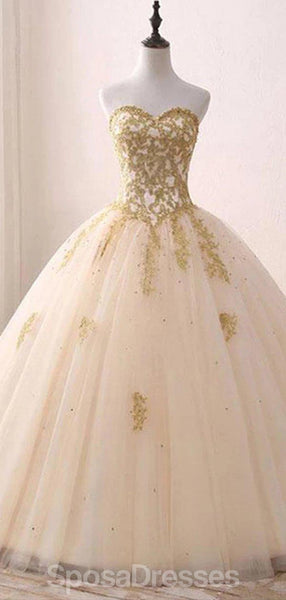 Sweetheart Gold Applique Ball Gown Long Evening Prom Dresses, Evening Party Prom Dresses, 12203