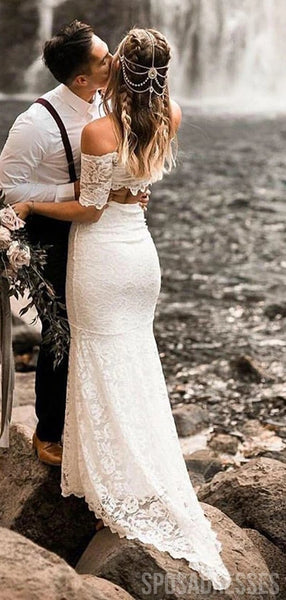 Sexy Two Pieces Mermaid Lace Wedding Dresses, Cheap Wedding Gown, WD692