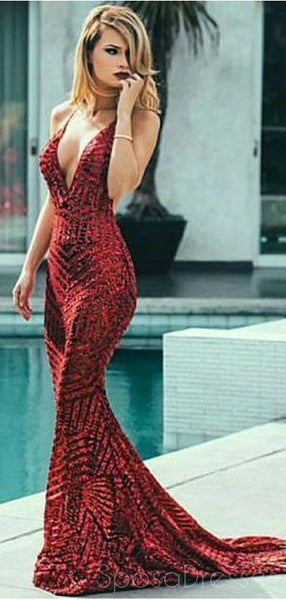 Sexy Backless V neck Mermaid Sequin Cheap Long Evening Prom Dresses, Cheap Sweet 16 Dresses, 18389