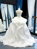 Scoop Ball Gown Lace Bodice Ruffles Cheap Wedding Dresses Online, Cheap Bridal Dresses, WD622