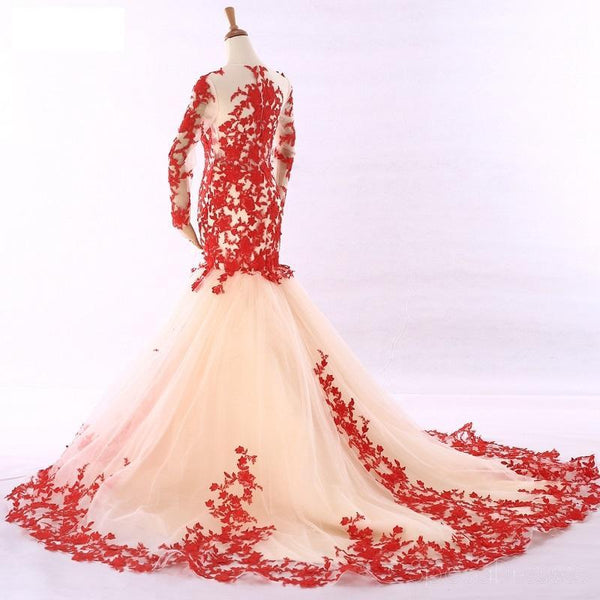 Long Sleeves Red Lace Mermaid Evening Prom Dresses, Cheap Custom Sweet 16 Dresses, 18531
