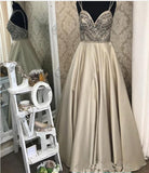 Spaghetti Straps A line Sweetheart Beaded Long Evening Prom Dresses, Popular Cheap Long 2018 Party Prom Dresses, 17289