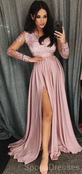 Long Sleeves Side Slit Pink Long Evening Prom Dresses, Cheap Custom Sweet 16 Dresses, 18465