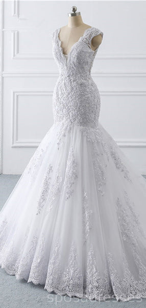 Cap Sleeves White Lace Wedding Dresses Online, Cheap Bridal Dresses, WD511
