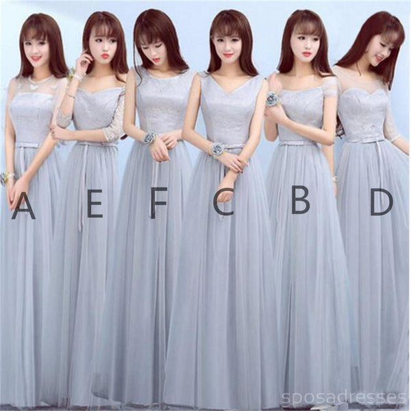 Mismatched Gray Lace Tulle Long Bridesmaid Dresses, Cheap Custom Long Bridesmaid Dresses, Affordable Bridesmaid Gowns, BD008