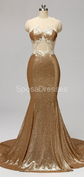 Gold Sequin See Through Mermaid Cheap Bridesmaid Dresses Online, WG595