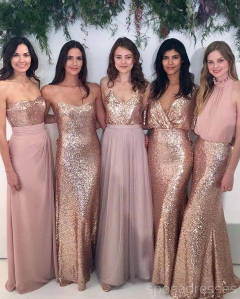 Custom Sparkly Mismatched Sequin Long Bridesmaid Dresses, Cheap Rose Gold Custom Long Bridesmaid Dresses, BD103