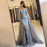 Long Sleeve Dusty Blue Lace Side Slit Mermaid Evening Prom Dresses, Popular 2018 Party Prom Dresses, Custom Long Prom Dresses, Cheap Formal Prom Dresses, 17206