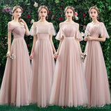 Blush Pink Floor Length Mismatched Cheap Bridesmaid Dresses Online, WG531