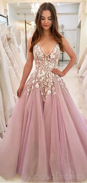 Cheap V Neck A-line Lace Pink Long Evening Prom Dresses, Cheap Custom Sweet 16 Dresses, 18445