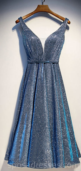 Sparkly V Neck Dusty Blue Sequin Homecoming Dresses Online, Cheap Short Prom Dresses, CM758