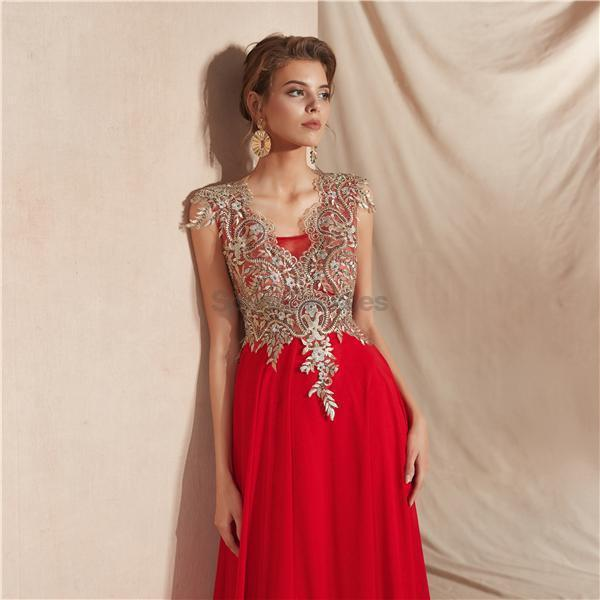 Cap Sleeves Applique Chiffon Evening Prom Dresses, Evening Party Prom Dresses, 12068