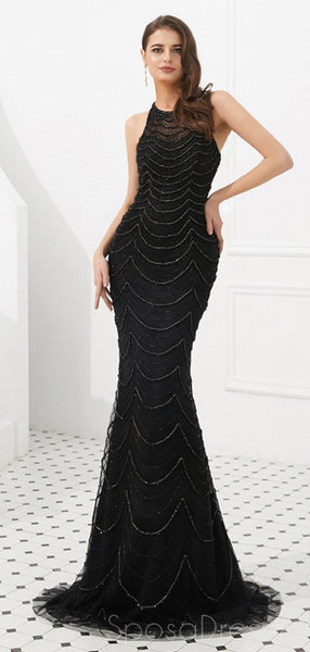 Halter Heavily Beaded Black Lace Mermaid Evening Prom Dresses, Evening Party Prom Dresses, 12092