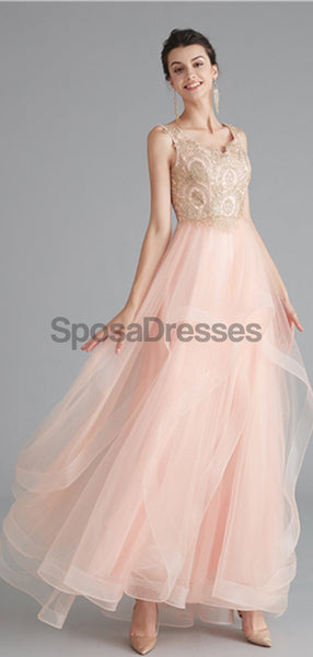V Neck Peach A-line Gold Bodice Evening Prom Dresses, Evening Party Prom Dresses, 12120