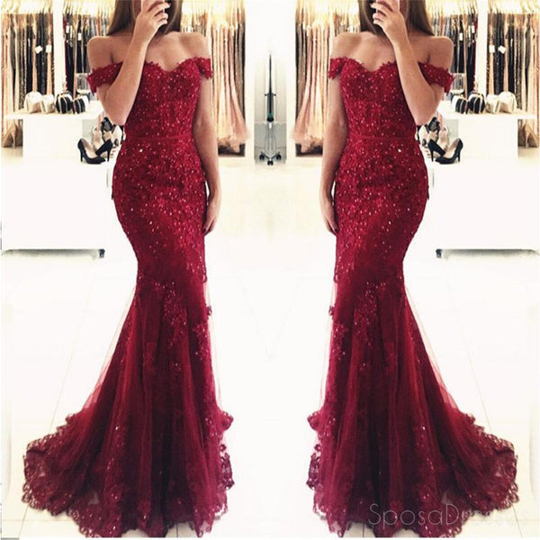 Off Shoulder Dark Red Lace Beaded Mermaid Evening Prom Dresses, Popular 2018 Party Prom Dresses, Custom Long Prom Dresses, Cheap Formal Prom Dresses, 17207