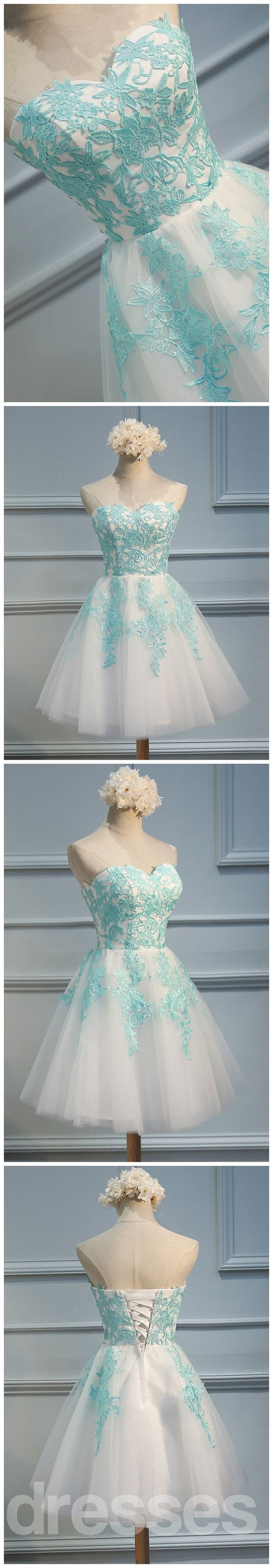Strapless Sweetheart Tiffany Blue Lace Tulle Homecoming Prom Dresses ...