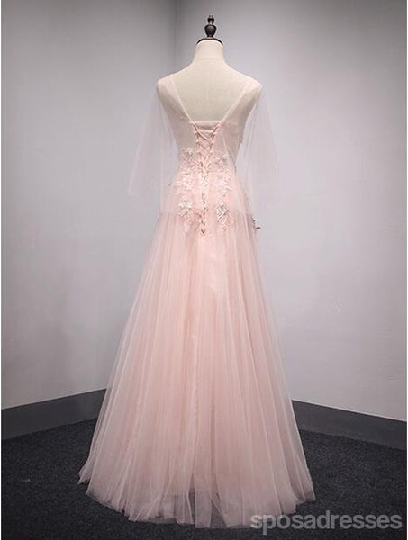 V Neckline Peach Lace Evening Prom Dresses, Popular Lace Party Prom Dresses, Custom Long Prom Dresses, Cheap Formal Prom Dresses, 17188