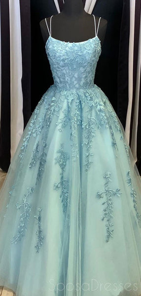Spaghetti Straps Lace Beaded Tiffany Evening Prom Dresses, Evening Party Prom Dresses, 12285