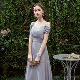 Grey Floor Length Mismatched Chiffon Cheap Bridesmaid Dresses Online, WG532