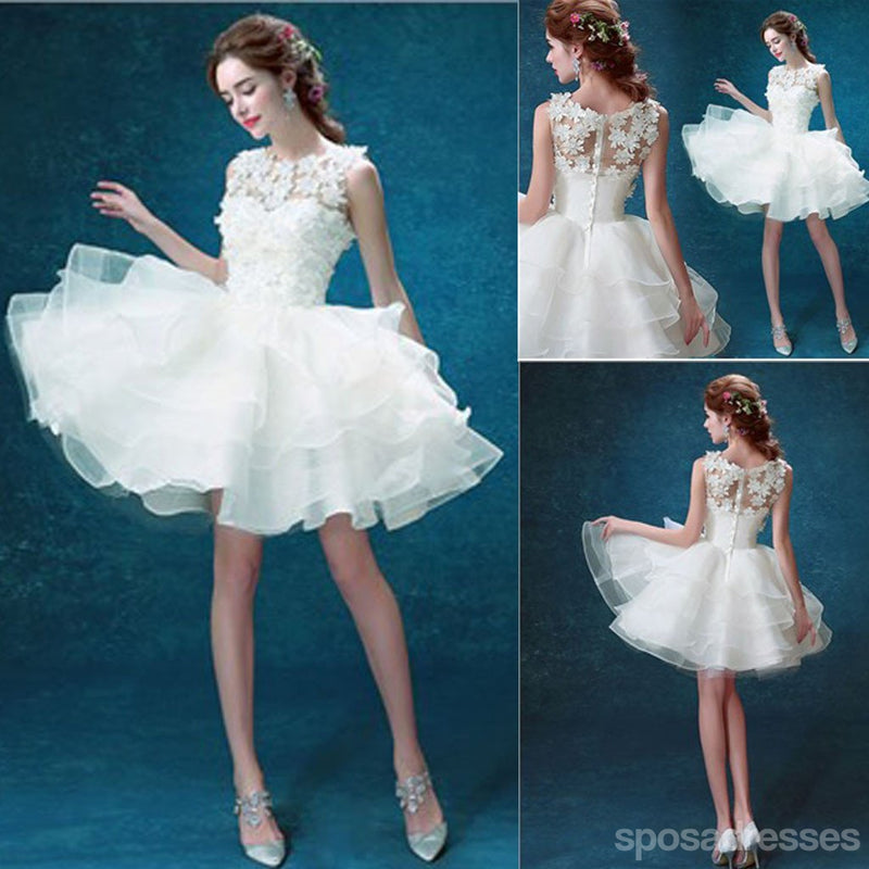 Scoop Neck Sleeveless Cute Appliques Custom Make Organza Wedding Party Dresses, WD0170