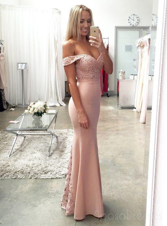 Off Shoulder Blush Pink Mermaid Evening Prom Dresses, Long Lace Party Prom Dress, Custom Long Prom Dresses, Cheap Formal Prom Dresses, 17061