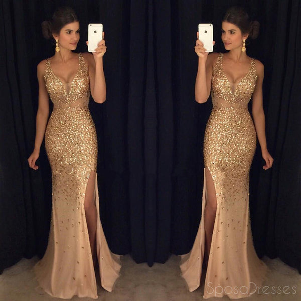 Gold Rhinestone Beaded Mermaid Evening Prom Dresses, Sexy See Through Party Prom Dresses, 17052