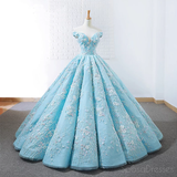 Off Shoulder Tiffany Blue Ball Gown Cheap Long Evening Prom Dresses, Cheap Custom Sweet 16 Dresses, 18532