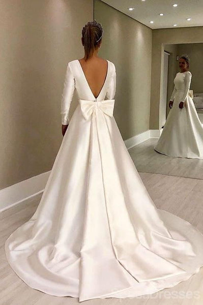 Simple Long Sleeves Satin A-line Wedding Dresses, Cheap Wedding Gown, WD712
