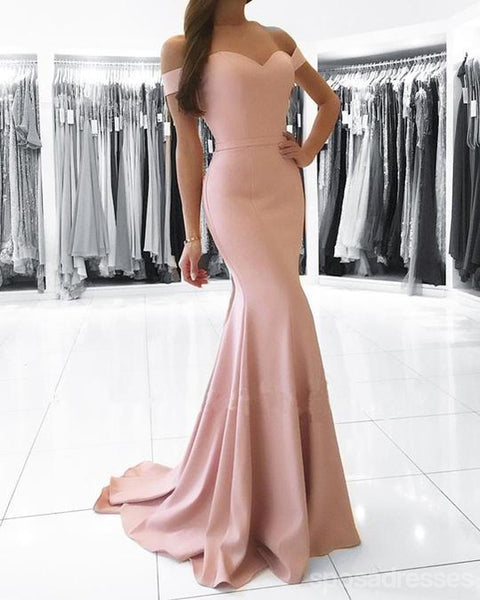 Simple Blush Pink Off Shoulder Short Sleeve Mermaid Long Custom Evening Prom Dresses, 17419