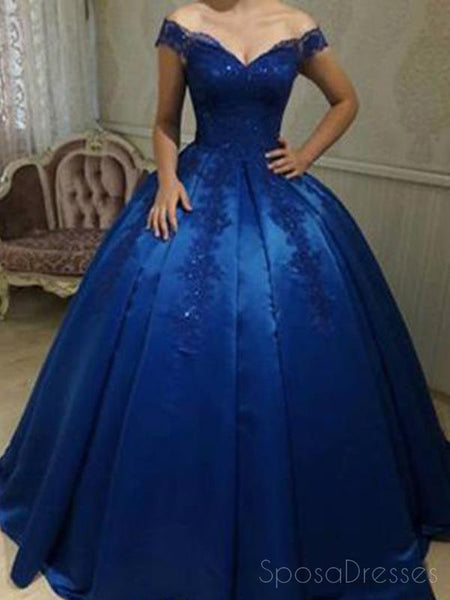 Royal Blue Off Shoulder Lace A line Long Evening Prom Dresses, 17469