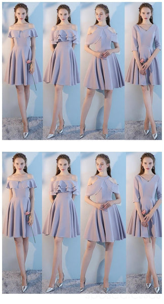 Summer Gray Short Mismatched Custom Cheap Bridesmaid Dresses Online, WG507
