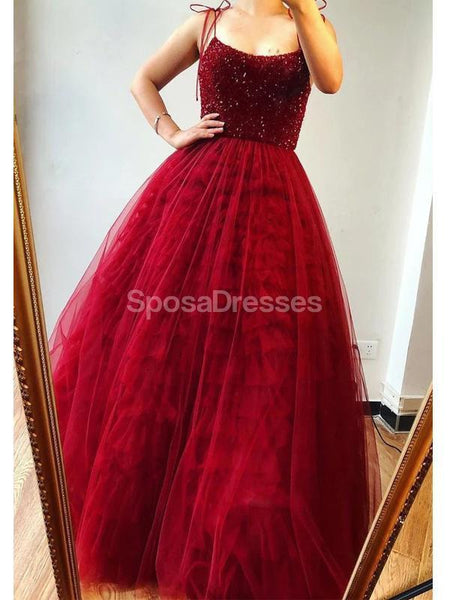 Dark Red Spaghetti Straps Beaded Ruffles Evening Prom Dresses, Evening Party Prom Dresses, 12279