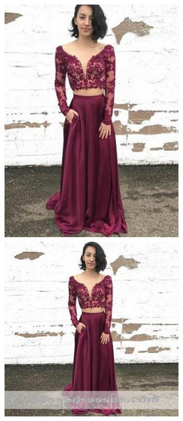 Maroon Two Pieces Long Sleeves Lace Evening Prom Dresses, Cheap Sweet 16 Dresses, 18316