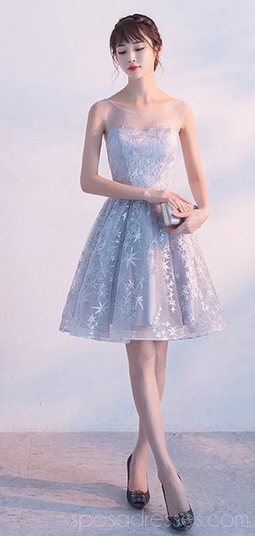 Scoop Grey Lace Cheap Homecoming Dresses Online, Cheap Short Prom Dresses, CM791