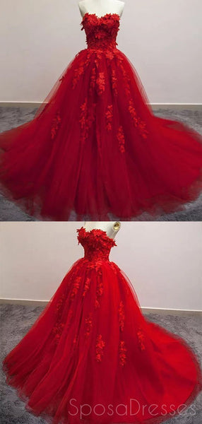 Bright Red Ball Gown Lace Cheap Long Evening Prom Dresses, Cheap Custom Sweet 16 Dresses, 18520