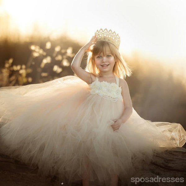 Strap Ivory Handmade Flower Girl Dresses, Affordable Lovely Tulle Tutu Dresses, FG029