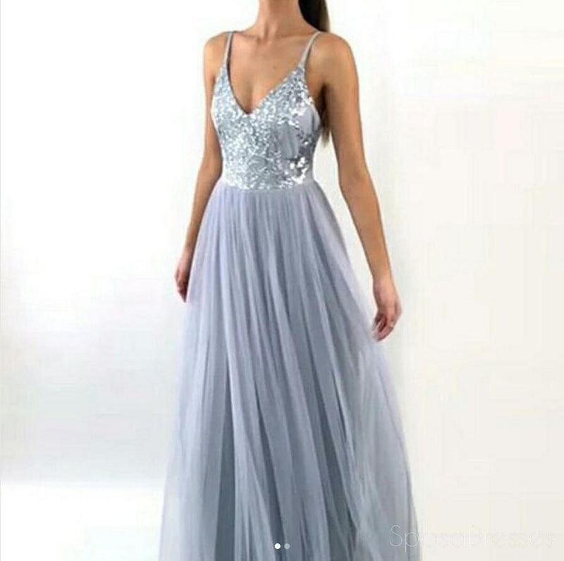 Sexy Backless Gray Sequin Tulle Long Evening Prom Dresses, Popular Cheap Long 2018 Party Prom Dresses, 17290