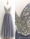 Two Straps V Neckline Heavily Beaded Long Evening Prom Dresses, Popular Cheap Long 2018 Party Prom Dresses, 17248