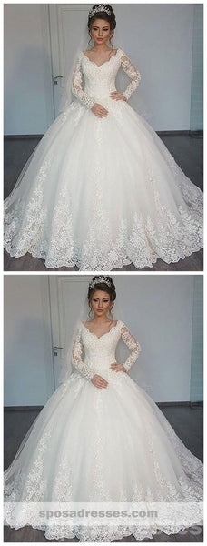 Long Sleeves Lace Ball Gown Wedding Dresses Online, Cheap Lace Bridal Dresses, WD447