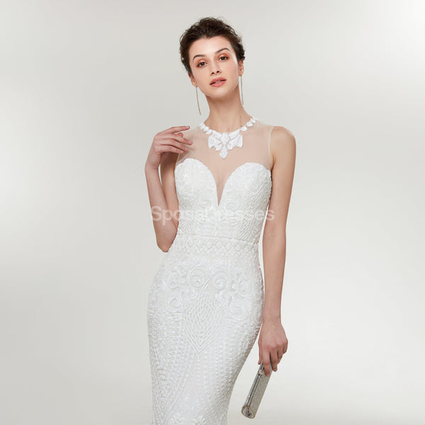 Simple Lace Mermaid Cheap Wedding Dresses Online, Cheap Bridal Dresses, WD582