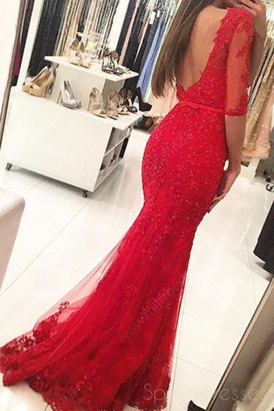 Long Sleeve Backless High Neck Red Mermaid Lace Long Evening Prom Dresses, 17460