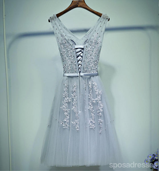 Gray Lace V Neckline Beaded Homecoming Prom Dresses, Affordable Corset Back Short Party Prom Dresses, Perfect Homecoming Dresses, CM258