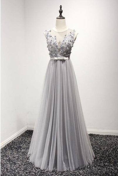 Formal Fashion Gray Lace Beaded Tulle Evening Prom Dresses, Cheap Party Prom Dresses, Custom Long Prom Dresses, Cheap Formal Prom Dresses, 17144
