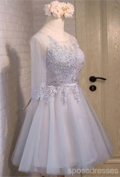 Lace Long Sleeve See Through Open Back Homecoming Prom Dresses, Affordable Short Party Prom Dresses, Perfect Homecoming Dresses, CM284