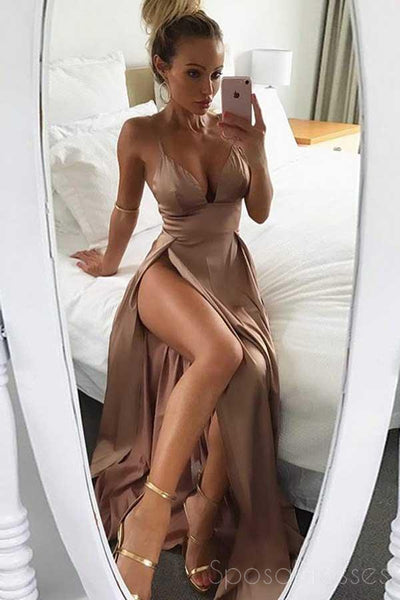 Sexy Side Slit Spaghetti Straps Long Evening Prom Dresses, 17699