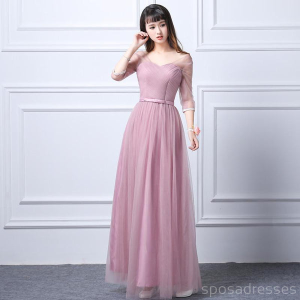 Mismatched Elegant Pink Tulle Long Bridesmaid Dresses, Cheap Custom Long Bridesmaid Dresses, Affordable Bridesmaid Gowns, BD010