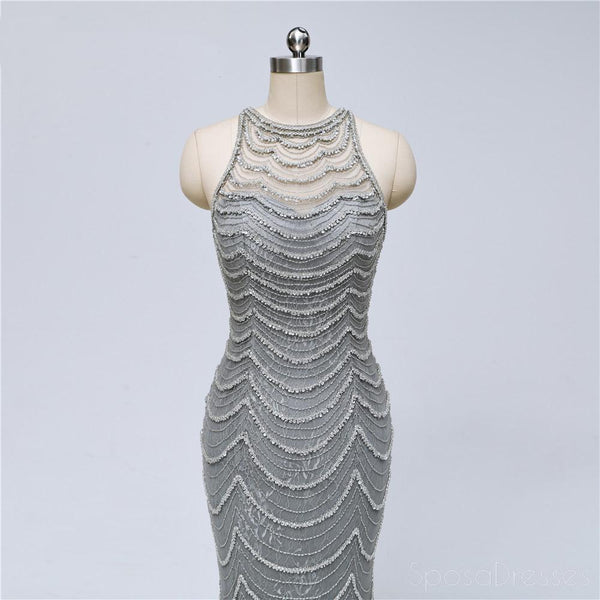 Grey Lace Heavily Beaded Mermaid Long Evening Prom Dresses, Luxurious Sweet 16 Dresses, 18347