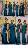 Off Shoulder Green Mermaid Applique Long Cheap Bridesmaid Dresses Online, WG652
